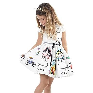 a44bb74e93 Leedford Girls Cotton Short Sleeve Cartoon Print Flower Dresses ...