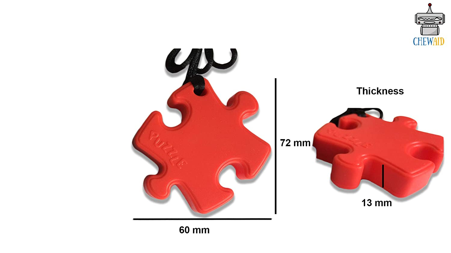 Autism Anxiety blue and red ADHD Chew Pendant chewelry Puzel Pack of 2 Training and Development Fidget Toy Chew Necklace for Teething Babies,Sensory,Oral Motor