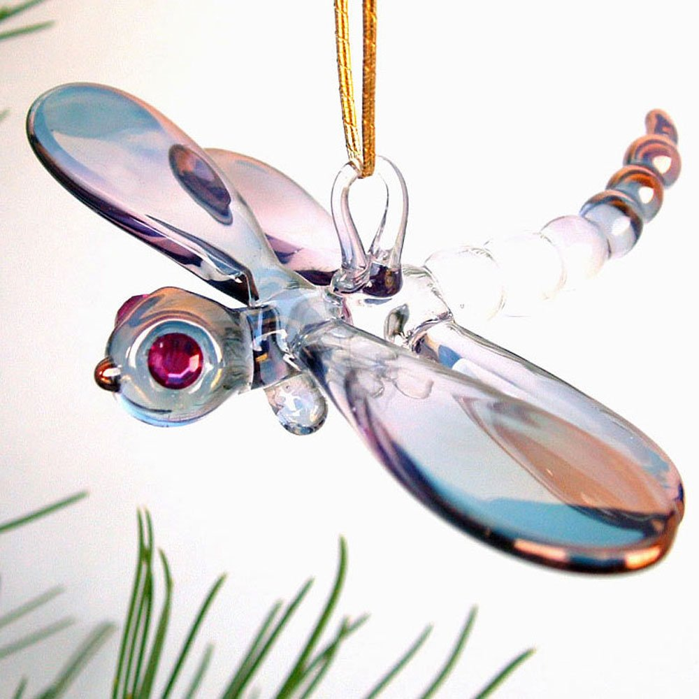 Amazon.com: Dragonfly Christmas Ornament Figurine Hand Blown Glass ...