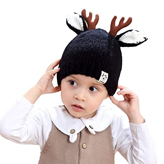 Amazon.com  Baby Christmas Thanksgiving Beanie Knitted Cap Warm Toddler  Santa Deer Elk Knit Hat for Fall (Black)  Clothing 348b8912809