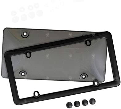 VaygWay Smoked Car Plate Cover Frames Shields Combo Screws Included-Unbreakable Tinted Fits US Standard Plates 2 Pk Novelty Bubble Design Covers