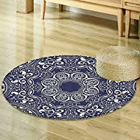 Navy Blue Circle carpet Inch Mandala Decor by Nalahomeqq Circular Pattern Summer Boho Bohemian Native Asian Print Polyester Fabric Room non-slip Navy Blue Ecru-Diameter 130cm(51)