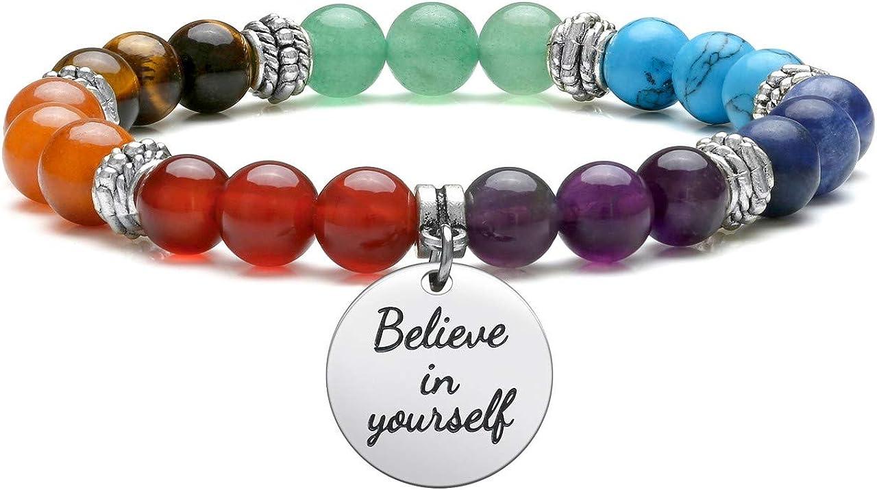CrystalTears Bracelet en Pierres Naturelles pour Femme Bijoux Pendentifs Perles 7 Chakra Gu/érison