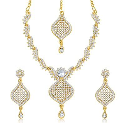 ac49b732a Buy Sukkhi Gold Plated Australian Diamond Necklace   Earrings Set With  Mangtikka For Women Online at Low Prices in India