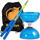 Cyclone Quartz 2 Diabolo (Blau) & Superglass Diablo Sticks Set & Firetoys® Tasche