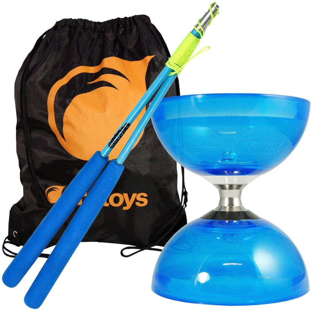 Juggle Dream Blue Cyclone Quartz 2 Triple Bearing Diabolo & Blue Superglass Diablo Sticks Set with Firetoys Bag by Firetoys