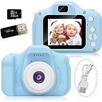 Cámara para Niños, Camara Fotos Infantil, Cámara Digital para Niños con Tarjeta TF 32 GB, Lector de Tarjetas, Niños y…