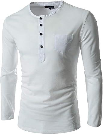 Camisa Polo con Botones De Manga Slim Larga Corte Y para Hombre ...