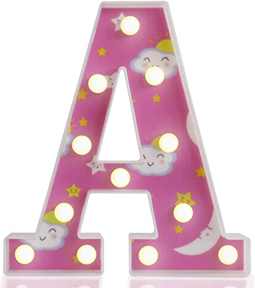 Pooqla Marquee Letter Lights, Moon Star Cloud Painted LED Light Up Letters, Alphabet Sign Light Kids' Room Girls Bedroom Birthday Party Home Decorations Gifts, Letter A
