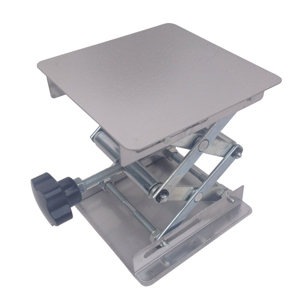 BIPEE 4x4'' Lab Jack Lifting Scissor Stand Platform, Stainless Steel