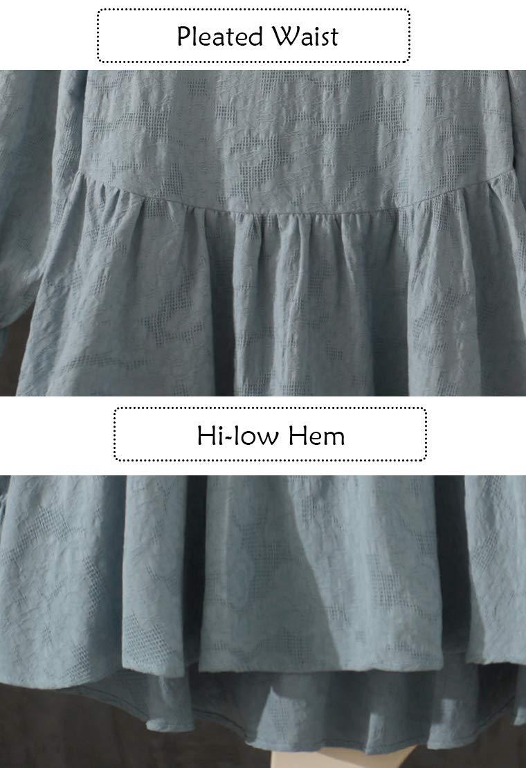 Mallimoda dam tunika klänning lång ärm fritid topp rund hals långa skjortor blus topp Grön