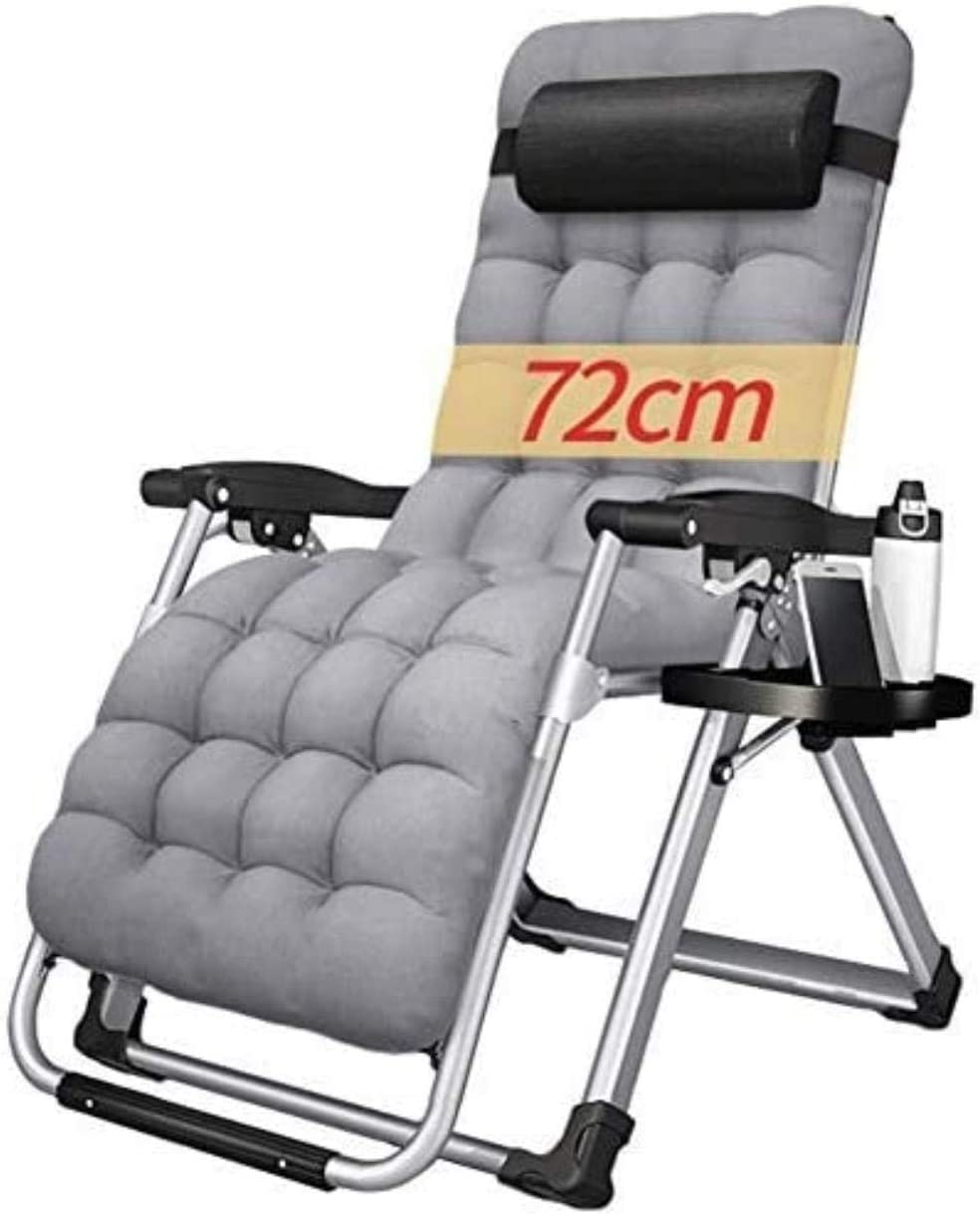 chair Comfortable Patio Lounger Foldable Adjustable Recliner Outdoor Office Beach Recliner Lunch Break Support 440lbs with Cushions (Color : Gray),Colour:Black