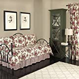 5 Piece Red White Floral Daybed Set Bedding, Geometric French Country Shabby Chic Motif Flower Cottage Leaf Pattern Day Bed Bedskirt Pillows, Polyester