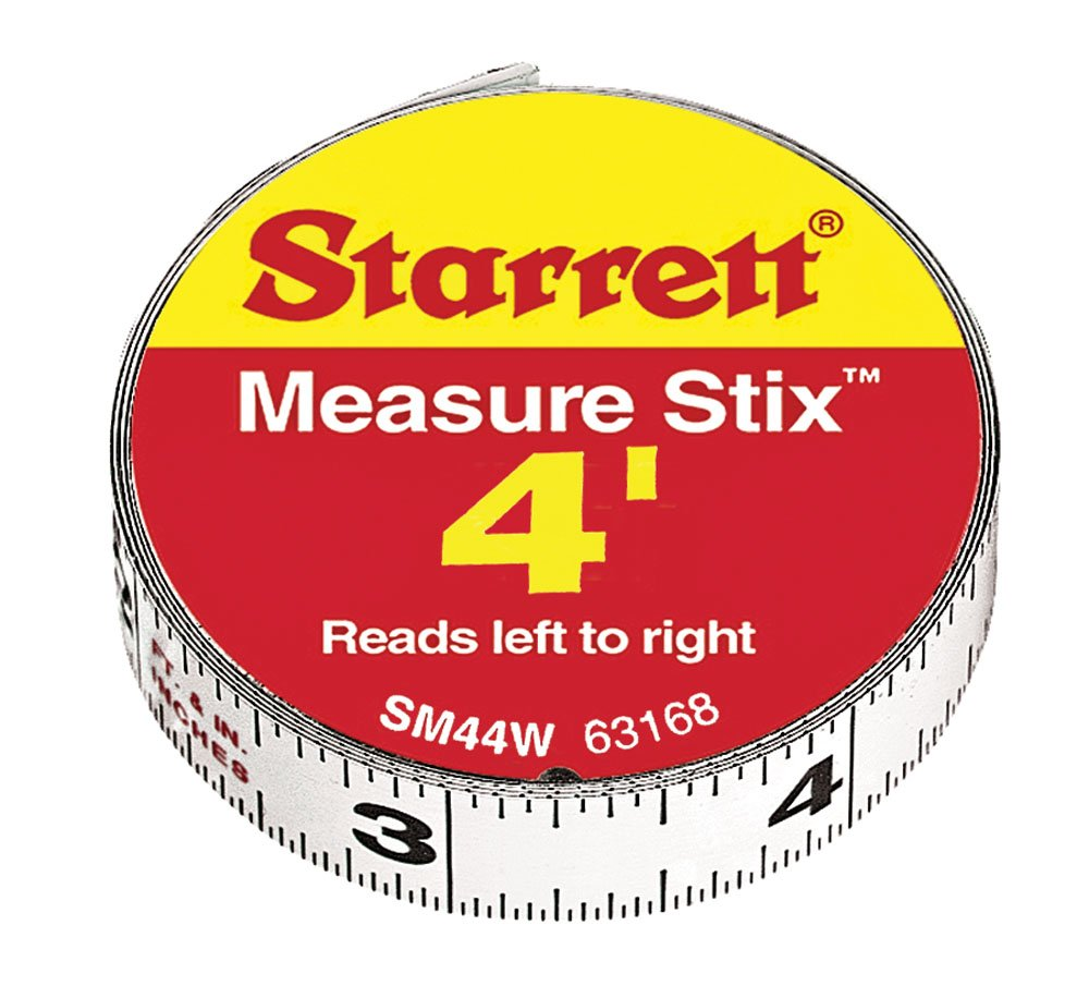 Starrett 63168 SM44W Steel Tape Measure with Adhesive Back 1 2 Inch x 4'