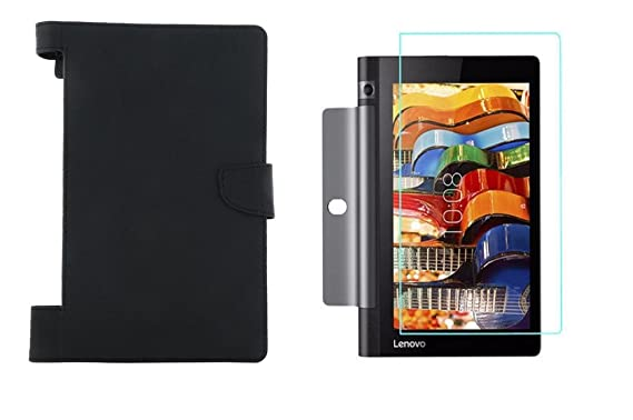 Colorcase Tablet Flip Cover Case for Lenovo Tab 3 Yoga 8.0  YT3 850F     Black  with Tempered Glass  Combo Set  Cases   Covers