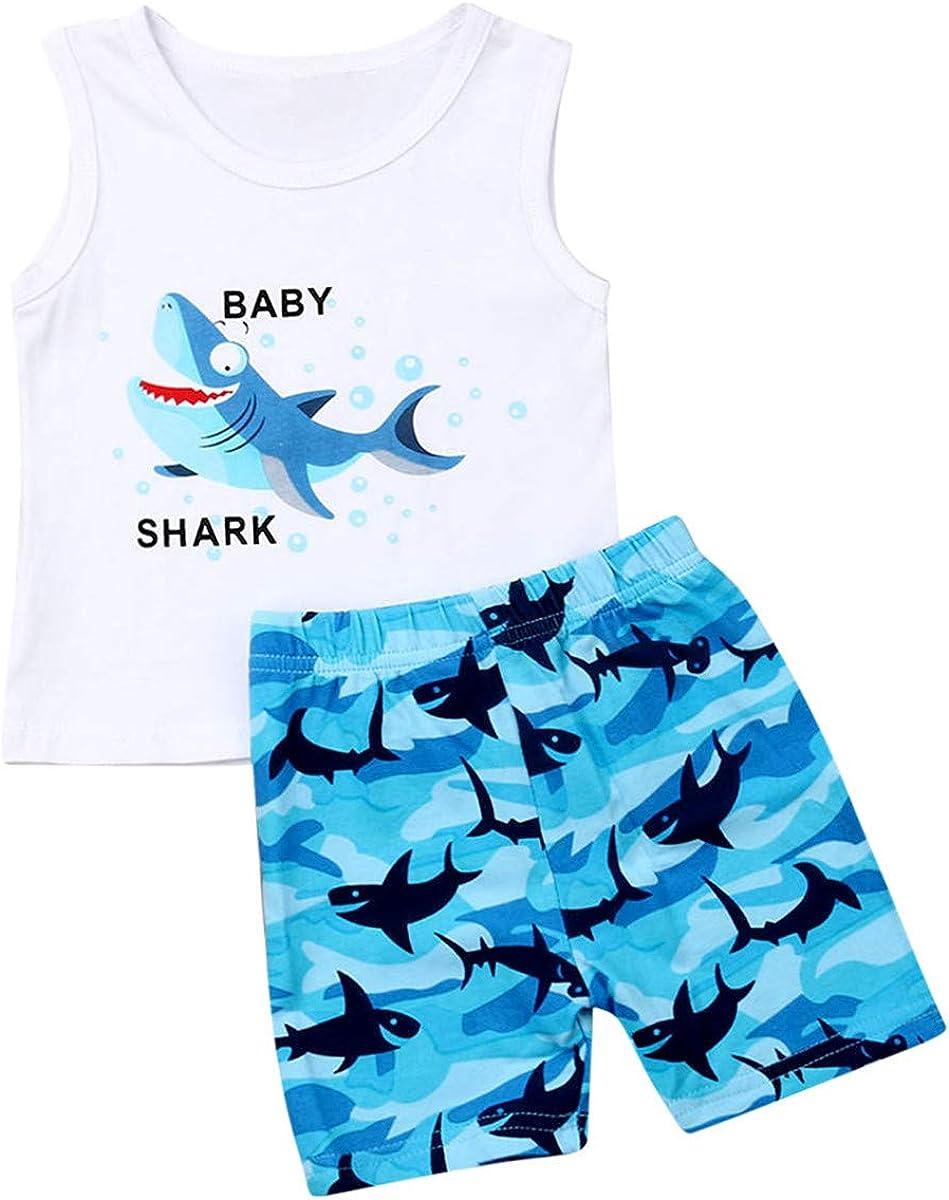 FIOMVA Baby Boy Girl Clothes Shark and Doo Doo Print Summer Cotton Sleeveless Outfits Set Tops and Short Pants