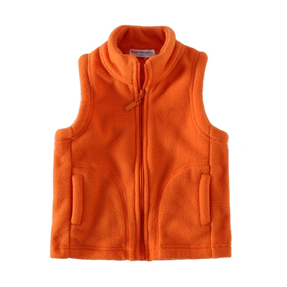 UWESPRING Boys Autumn And Winter Fleece Solid Vests 4T Orange