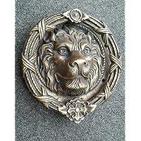 "Antique Style Vintage Large Solid Brass Lion Head Door Knocker 8"" Dia. #D3"