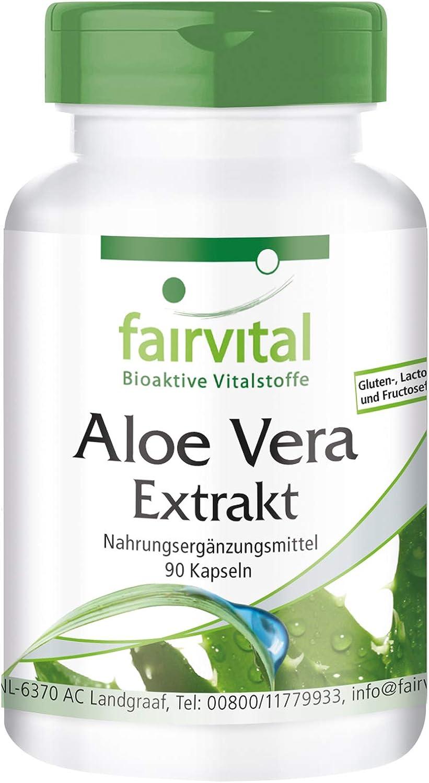 Aloe Vera Cápsulas - VEGANO - 90 Cápsulas - 200: 1 Aloe Vera Barbadensis Miller concentrarse - Calidad Alemana