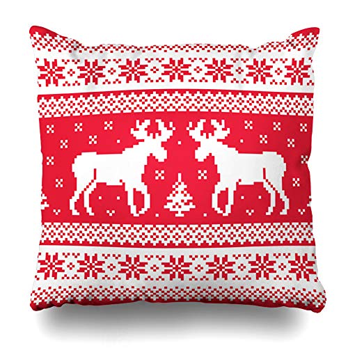 Nordic Reindeer Sweater (Ahawoso Decorative Throw Pillow Cover Standard 20x26 Red Nordic Christmas Winter Pattern Reindeer Northern Vintage Sweater Deer Norway Knitwear Craft Cute Zippered Pillowcase Home Decor Cushion)