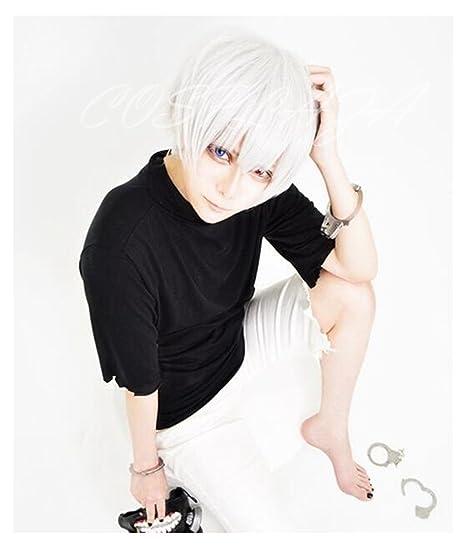 Tokyo COSPLAZA de la peluca ghoul de Navidad Ken pelucas Cosplay kaneki Halloween colour blanco y plateado pelo parte