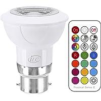 iLC Ampoule Led MR16 B22 RGB SpotCulot ledChangementdeCouleur,Ampoules Led RGBWDimmable Blancchaud (2700K) Spots LED3W-Equivalence incandescence 20W, Lampe LedAnglede Faisceau 45°,200Lumen,85CRISuper high Display, BaïonnetteDouille,LumiereledLumièred'humeur-Double mémoire -12 choix decouleurs-TimingTélécommande infrarouge incluse