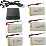 5pcs 3.7v 800mAh Lithium Battery with 5-in-1 Charger for Syma X5C X5C-1 X5A X5 X5SC X5SW H5C V931 S5C S5W SS40 FQ36 T32 T5W H