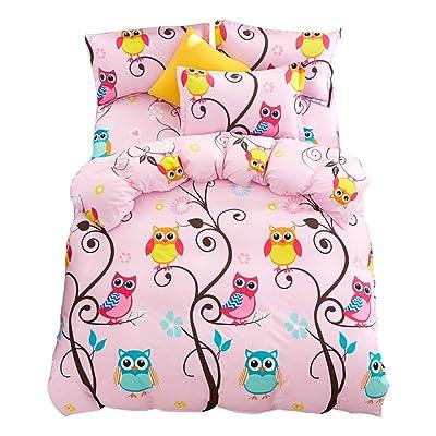 JQWUPUP Cartoon Kids' Duvet Cover Set Twin, (1 Duvet Cover and 2 Pillow Shams, Not Comforter Set) for Teens Kids Girls, Lightweight Durable Microfiber (Twin, Pink Owl): Home & Kitchen