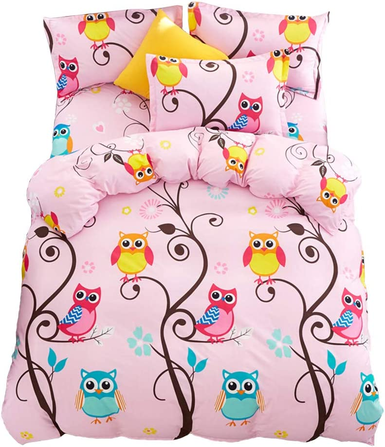 JQWUPUP Cartoon Kids' Duvet Cover Set Twin, (1 Duvet Cover and 2 Pillow Shams, No Comforter Insert) for Teens Girls, Lightweight Durable Microfiber, Hypoallergenic (Twin, Pink Owl)