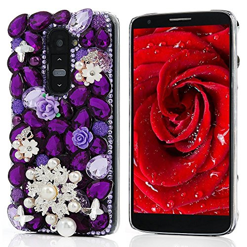 KAKA(TM Pearls Snowflake Butterfly Style Bling Purple Crystal Rhinestone Clear Back Cover Hard Case for LG Optimus G3
