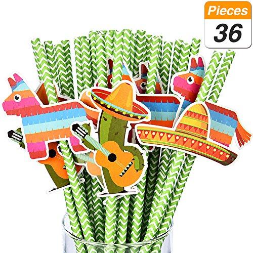 Jovitec 36 Sets Fiesta Party Paper Straws Cactus Sombrero Donkey Pattern Drinking Straws Striped Decorative Straws for Parties Festival
