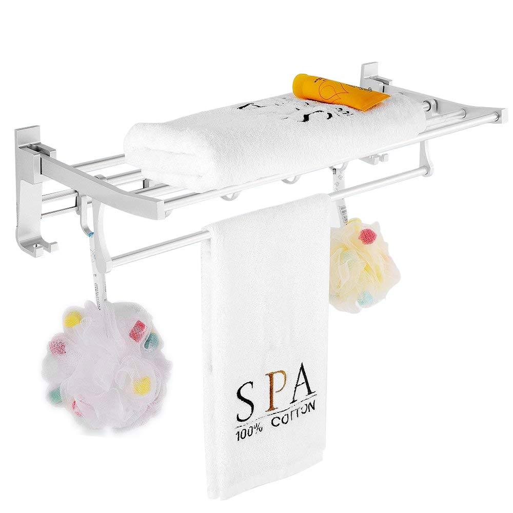 Gricol Bath Towel Rack With Hooks Self Adhesive 24-inch Rustproof Space Aluminum Organizer Bathroom Storage Shelf