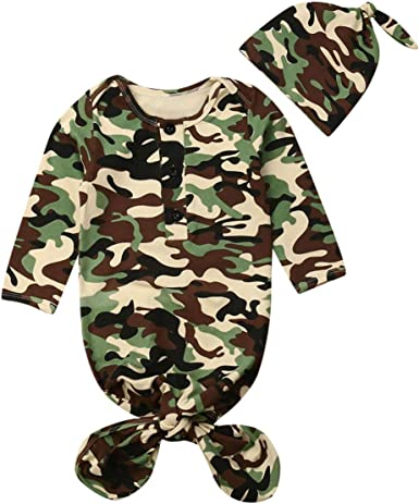 Toddler Baby Camo Swaddle Wrap Swaddling Sleeping Bag Blanket Hat Headband Set