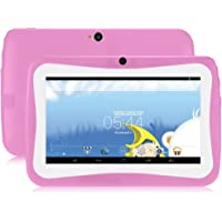 GBlife Kinder Tablet PC, 7.0 Zoll Tablet mit Silikonhülle, Android 4.4 Quad Core 1.2 GHz, 1 GB RAM + 16 GB ROM, 0.3MP Kameras, WIFI, Bluetooth (Rosa)