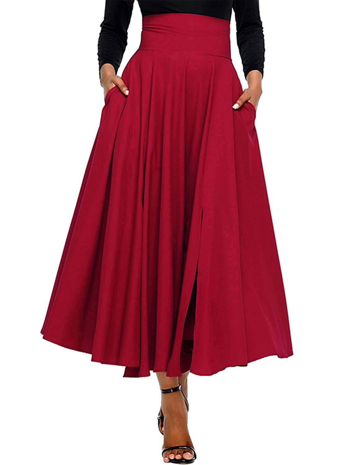 FIYOTE Womens High Waist Front Slit Belted Casual A Line Pleated Long Maxi Skirt S-XXL