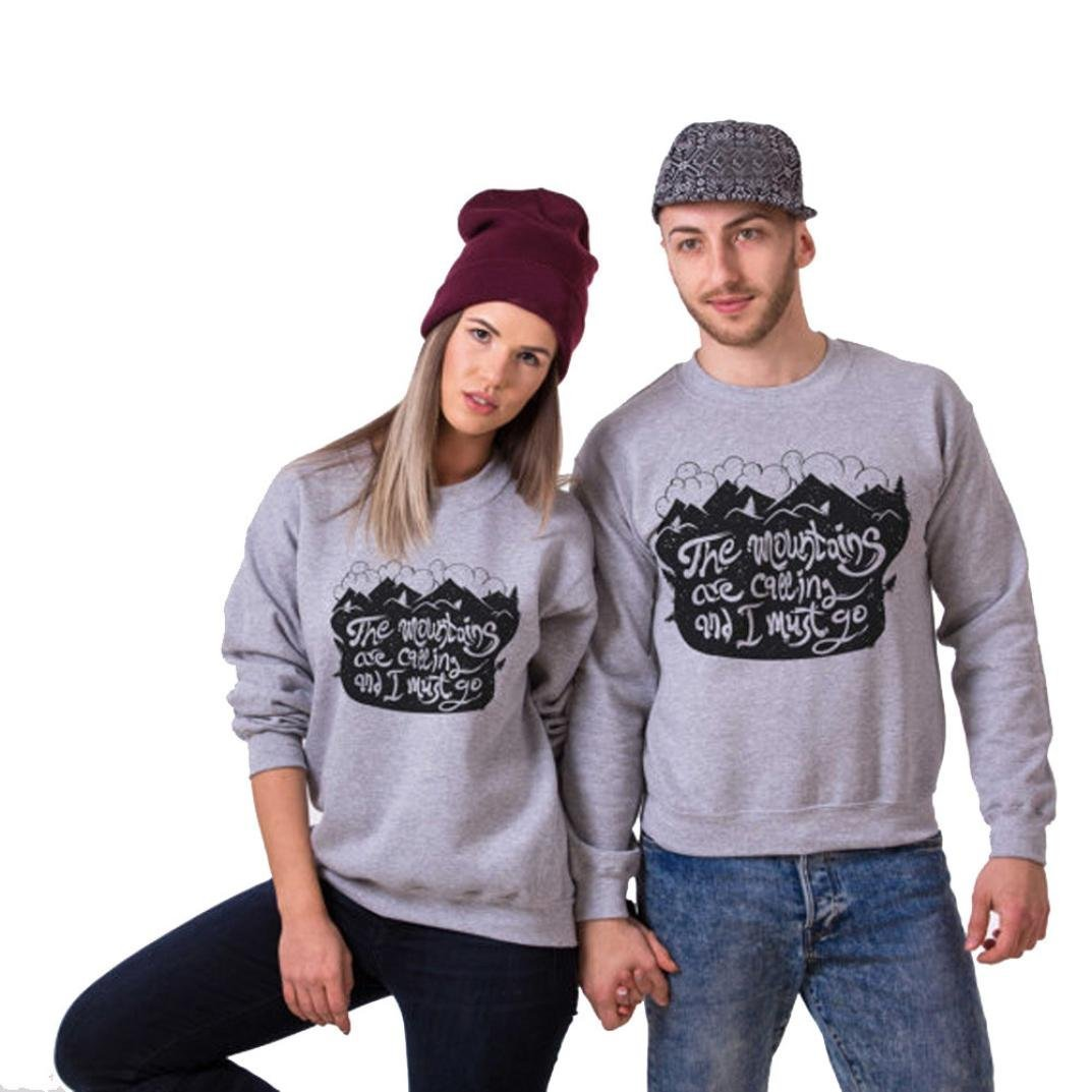 LUQUAN Couple Clothes Letter Printed Long Sleeve Sweatshirt Tops Shirts Blouse Large,Gray/Men