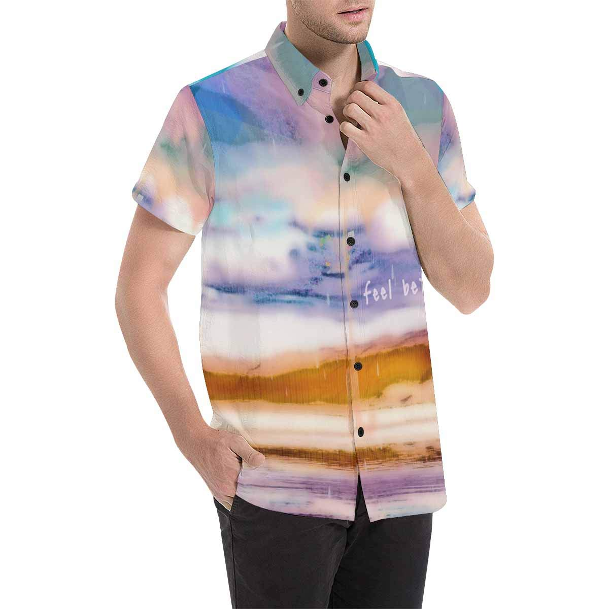 InterestPrint Charming and Sweet Umbrella Shirt Short Sleeve Button Down Casual Beach Party Tops for Men