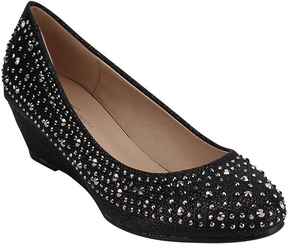 Glitter Diamante Ladies Women Platform Wedge Heel Flip flops Sandals Plus Sz@New