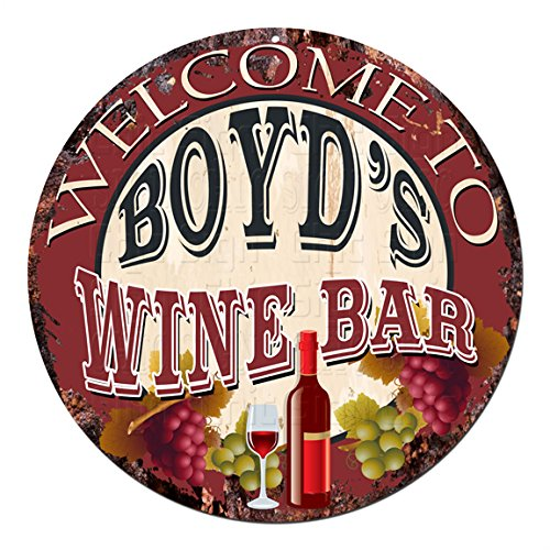 (Welcome to The BOYD'S Wine BAR Chic Tin Sign Rustic Shabby Vintage Style Retro Kitchen Bar Pub Coffee Shop Man cave Decor Gift Ideas)
