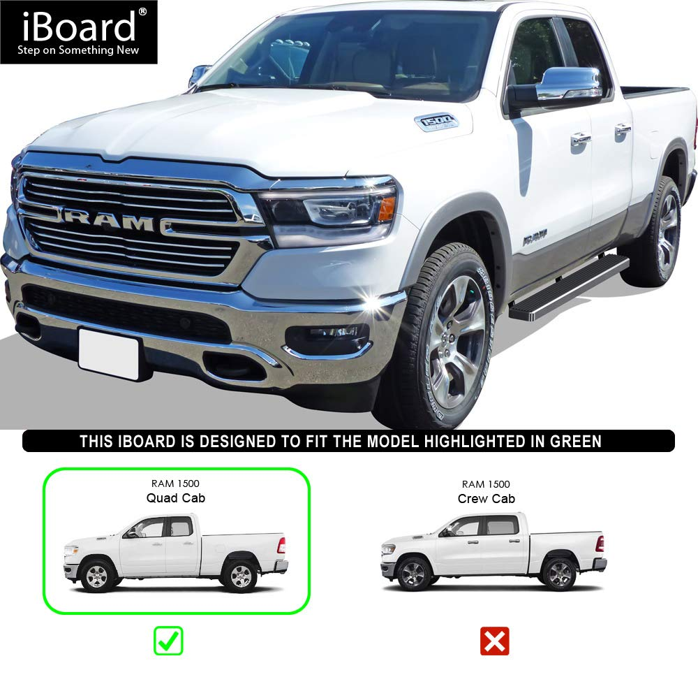 Black Powder Coated 5 inches Nerf Bars Running Boards Side Steps for 2019-2020 Dodge Ram 1500 Quad Cab Pickup 4-Door for New Body Style ONLY Will Not Fit 2018 Model Build in 2019 iBoard