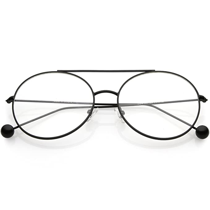 6fca456d35 sunglassLA - Premium Oversize Round Eyeglasses Metal Double Nose Bridge  Clear Flat Lens 59mm (Black