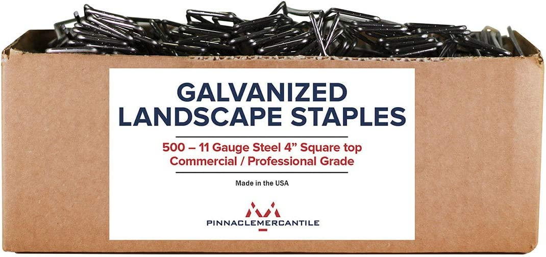 Pinnacle Mercantile USA Made 500-4 Inch Galvanized Garden Landscape Fabric Anchor Staples Thick 11 Gauge Steel