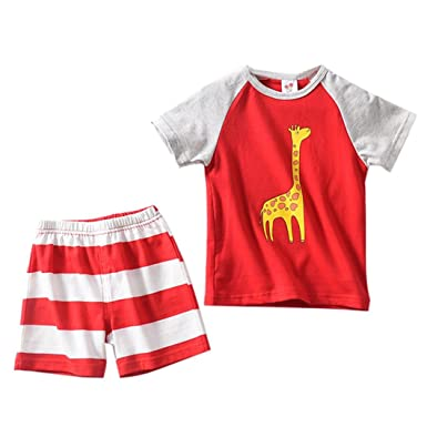 Webla Toddler Baby Boys Girls Cartoon Giraffe T-Shirt+Striped Short Pants Home Pajama Clothes Set for 1-3 Years 2-3T