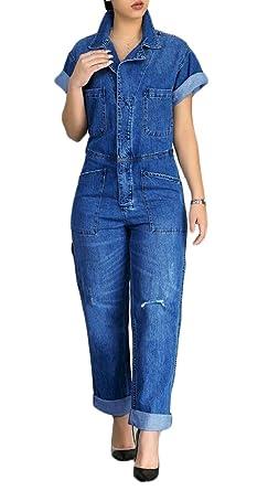 e8c551b2c1 Amazon.com: Yayu Womens Button up Short Sleeve Autumn Denim Jean ...