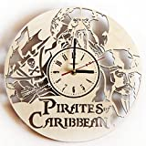 Pirates of The Caribbean Wood Wall Clock - Original Home Decor for Kids Room Living Room Bedroom Kitchen - Best Gift Idea for Kids Friends Neighbour Boys and Girls - Unique Wall Art Design - Size 12""