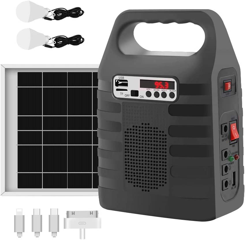 Portable Solar Generator,Portable Solar Generator with Solar Panel,Solar Power Generator Kit,Camping Fishing Emergency Electric Generator,Solar Powered Charger,Lithium Battery Backup Power Black