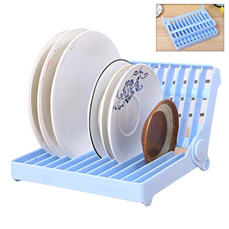 Collapsible Plastic Dish Rack Drain Frame Folding Drop Foldable Dish Plate Drying Rack Organizer Drainer Plastic  sc 1 st  Amazon.com & Amazon.com: Collapsible Plastic Dish Rack Drain Frame Folding Drop ...