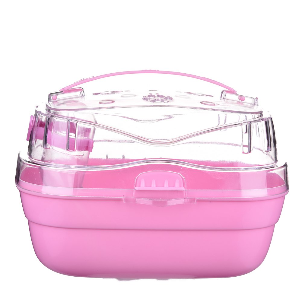 Foerteng Hamster Carrier Travel Carrier Hamster Habitat Cage Pet Cage for Small Animals like Dwarf Hamster and Mouse, Pink