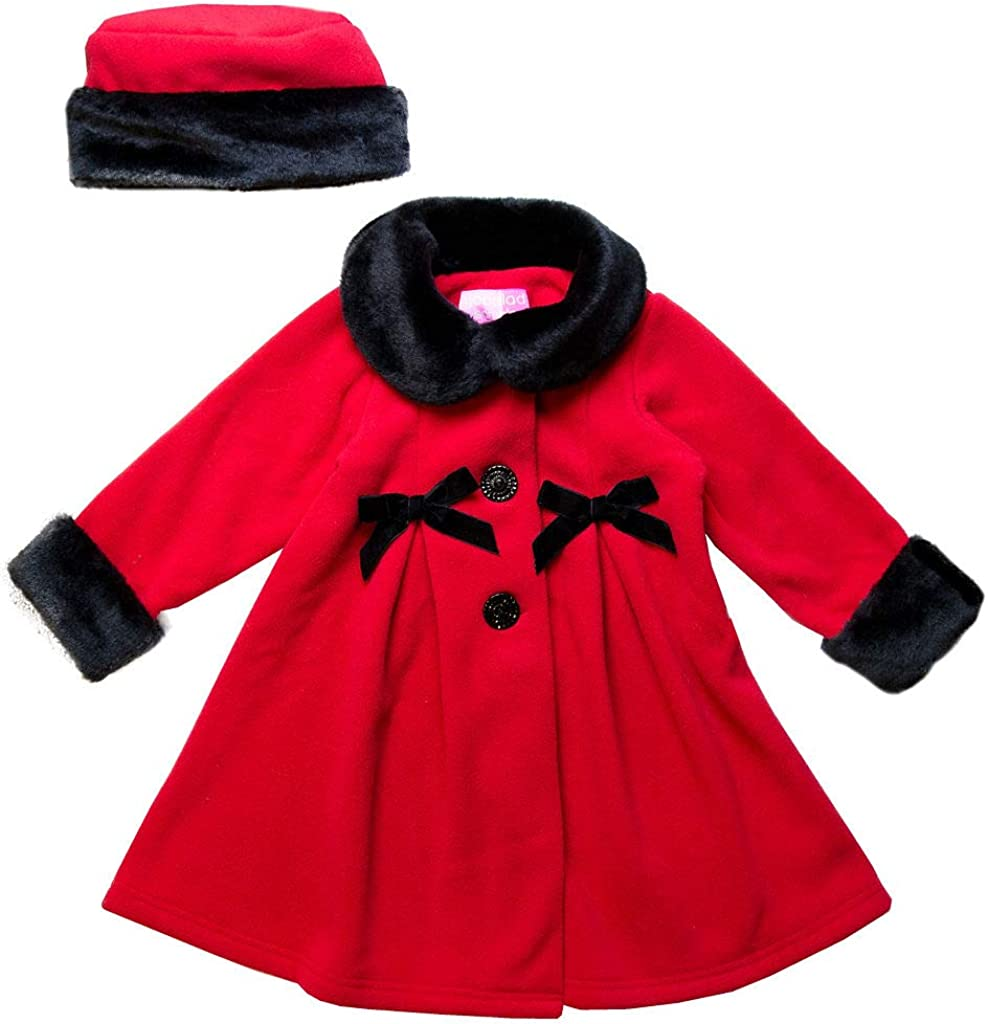 Good Lad Dressy Fleece Coat with Velvet Trim on Collar and Cuffs and Matching Hat