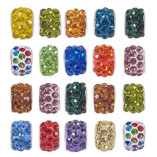 NBEADS 100 Pcs Random Mixed Color Crystal Charms Beads, Rhinestone Large Hole Spacer Beads Fit European Bracelet Snake Chain Jewelry Making ()